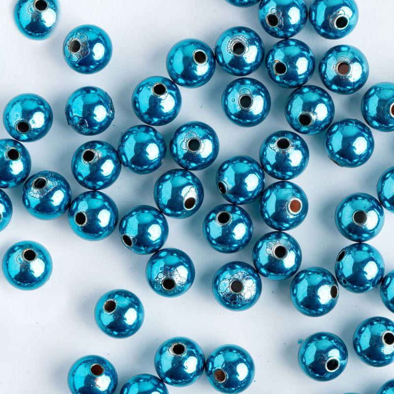 Bile cupru 6 mm turnate albastru orificiu 1.5 mm - 30 buc - magazinuldepietre.ro
