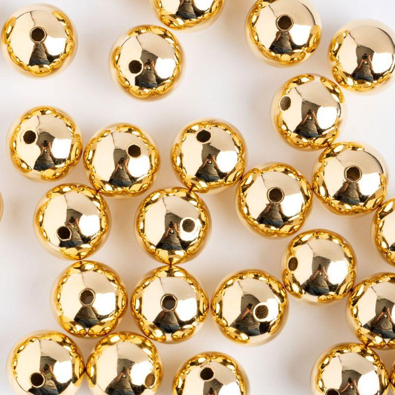 Bile cupru 12 mm turnate auriu orificiu 1.5 mm - 4 buc - magazinuldepietre.ro