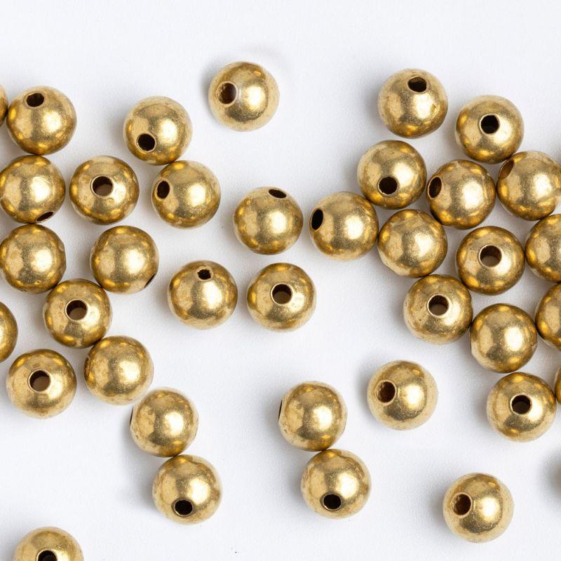 Bile cupru 6 mm turnate bronz orificiu 1.5 mm - 30 buc - magazinuldepietre.ro